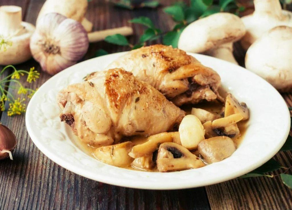На пару с курицей и фасолью