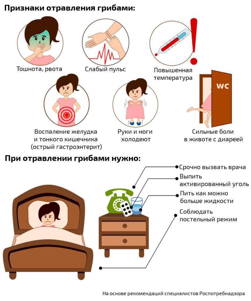 Признаки отравления грибами